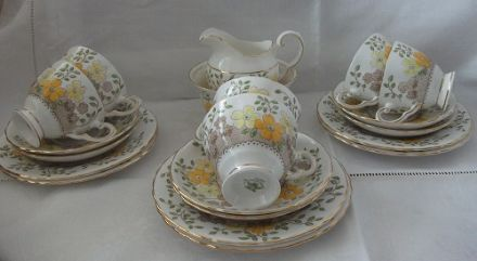 Vintage Bone China Tea set by Plant Tuscan - Yellow& Orange Flowers